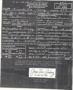 Sherrie's Original Birth Certificate